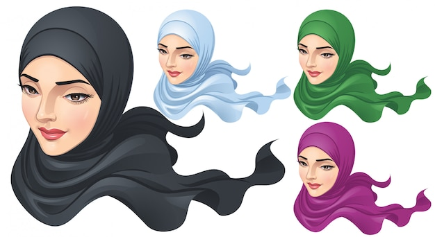 Une femme musulmane avec hijab Vecteur Premium