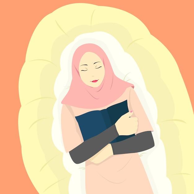 Femme Musulmane Tenant Un Livre Avec Un Visage Heureux, Portant Un Hijab à La Mode, Une Femme Islamique Dormant Sur Un Matelas Vecteur Premium