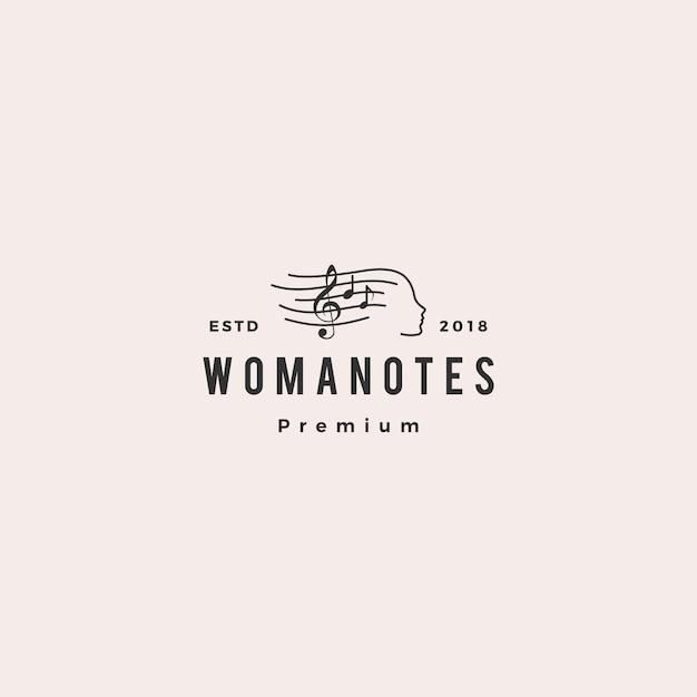 Femme note musique logo vector icon illustration Vecteur Premium
