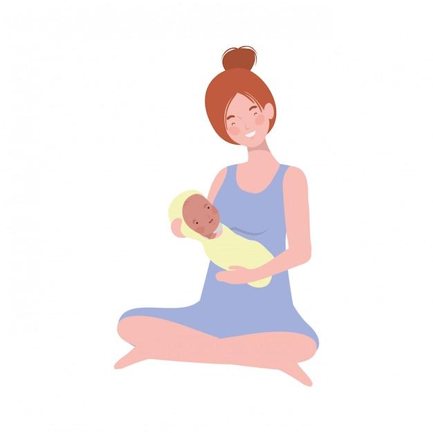 Femme avec un nouveau-né dans ses bras Vecteur Premium