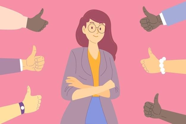 Femme Obtenant L'approbation Du Public Vecteur gratuit