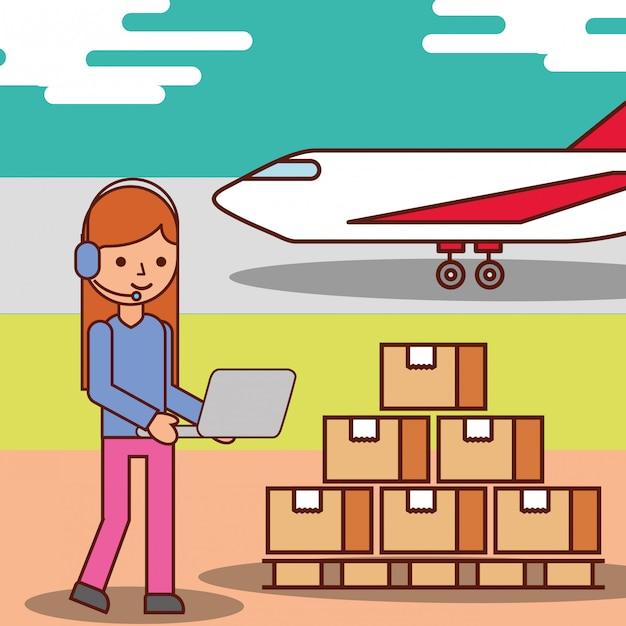 Femme, opérateur, dessin animé, logistique, boîtes carton, et, transport avion Vecteur Premium