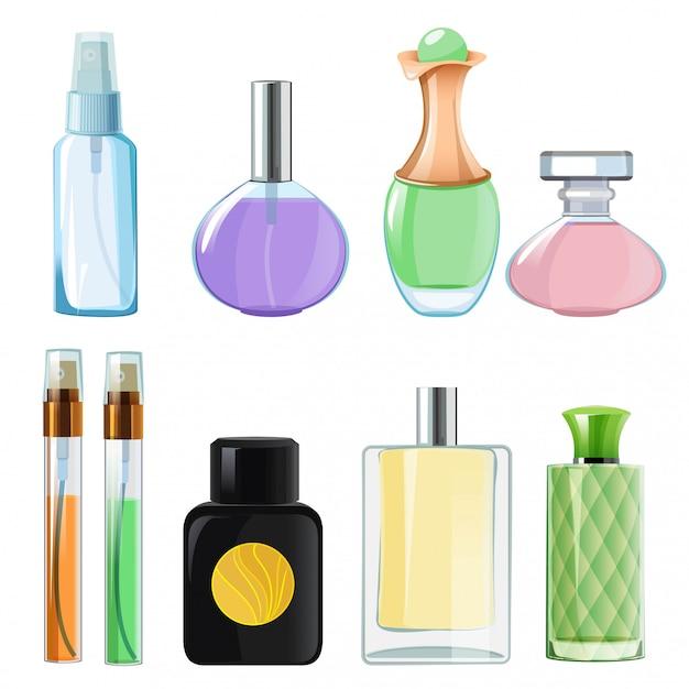 Femme Parfums. Bouteilles En Verre Parfumées Sur Blanc Vecteur Premium