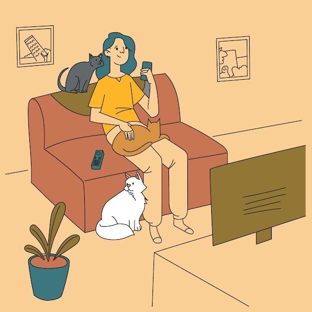 Femme Passant Du Temps Avec Leurs Chats Moelleux Vecteur gratuit