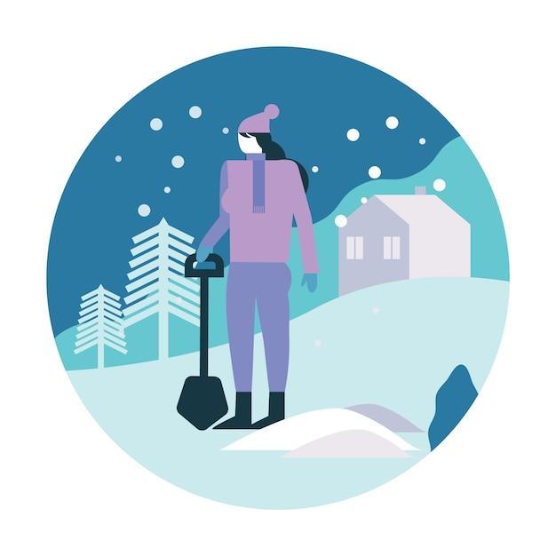 Femme pelleter son parking après une tempête de neige. Vecteur Premium
