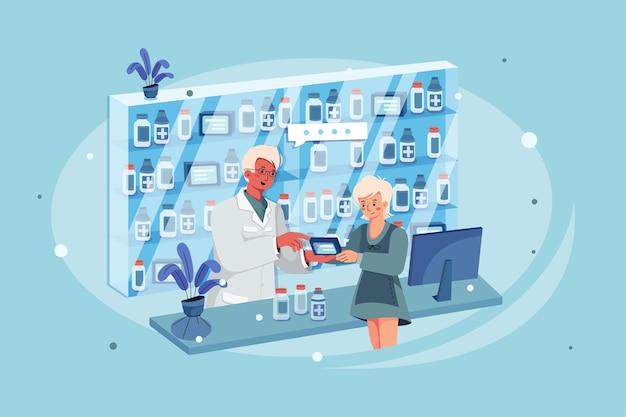Femme En Pharmacie Parlant Au Pharmacien Des Effets D'un Médicament Vecteur Premium