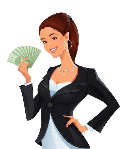 Femme avec une pile d'argent Vecteur Premium