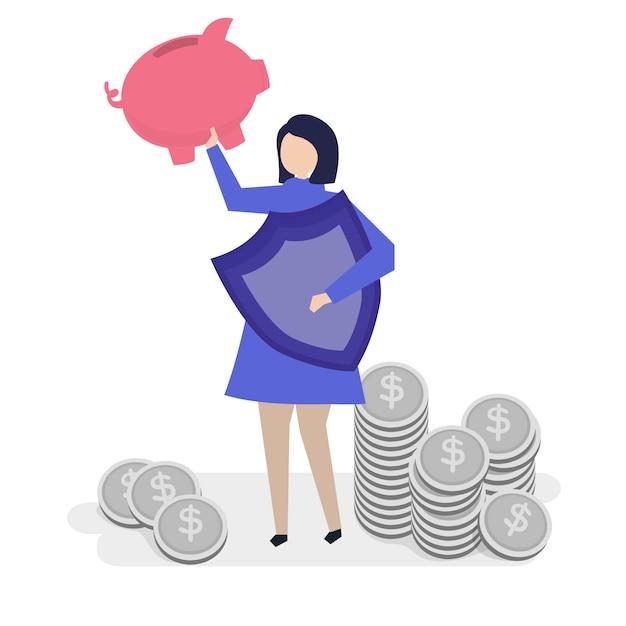 Une femme planifiant ses finances personnelles Vecteur gratuit