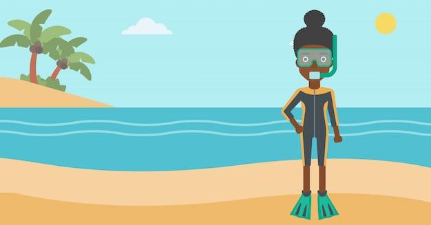 Femme plongeuse sur la plage Vecteur Premium