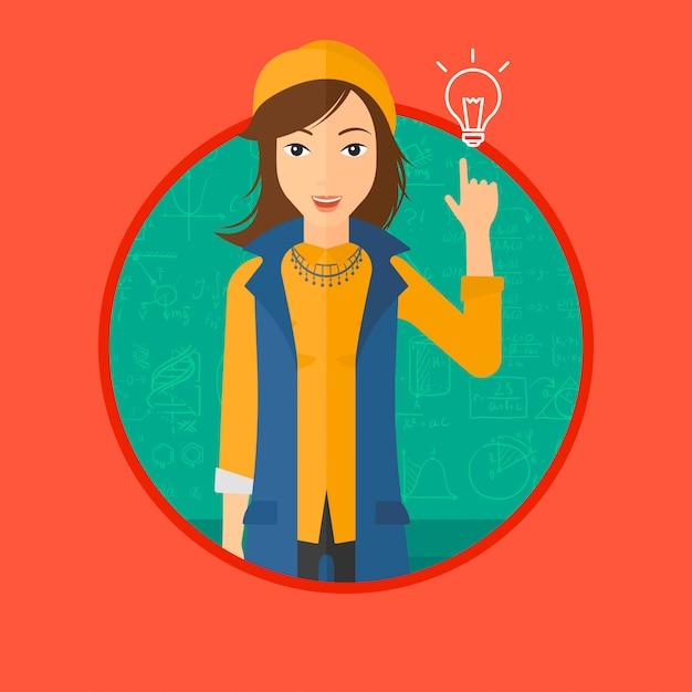 Femme, pointant ampoule Vecteur Premium