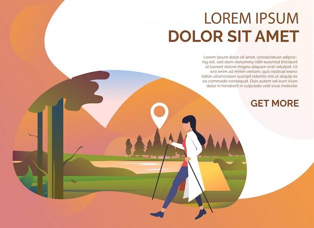 Femme pôle marchant, paysage d'été et exemple de texte Vecteur gratuit