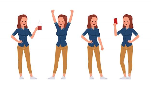 Femme, Porter, Jean Bleu, Chemise, Caractère Vecteur Premium