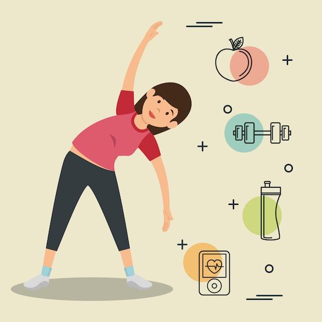 Femme pratiquant l'exercice avec des icônes de sports Vecteur gratuit