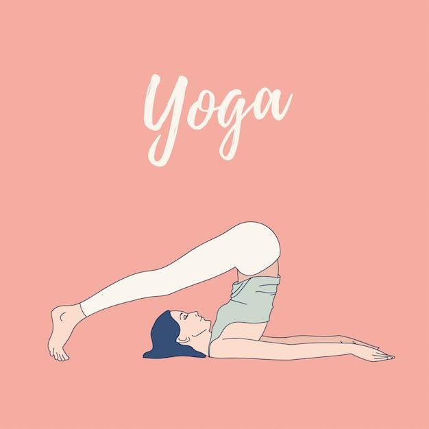 Femme Pratiquant L'exercice De Yoga, Pose De Yoga. Journée Internationale Du Yoga. Vecteur Premium
