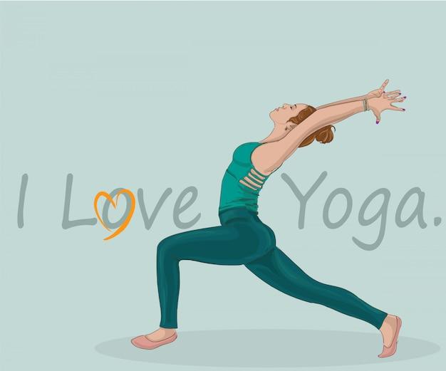 Femme pratiquant la posture de yoga guerrier. Vecteur Premium