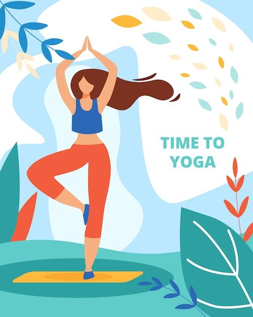 Femme pratiquant le yoga en plein air en forêt ou dans un parc Vecteur Premium