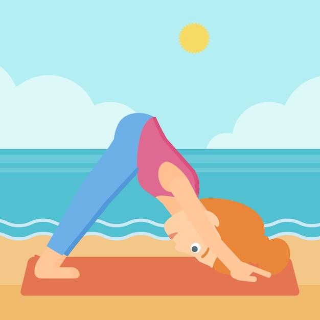Femme pratiquant le yoga. Vecteur Premium
