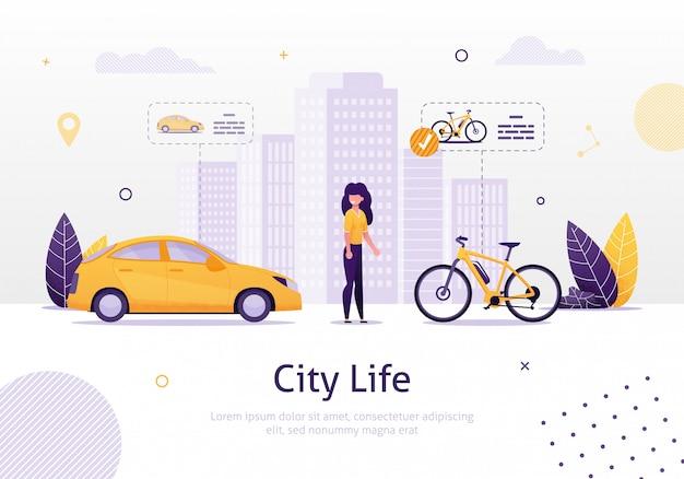 Femme préférant conduire une bicyclette à la voiture bannière. Vecteur Premium