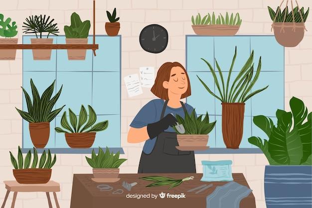 Femme prenant soin des plantes Vecteur gratuit