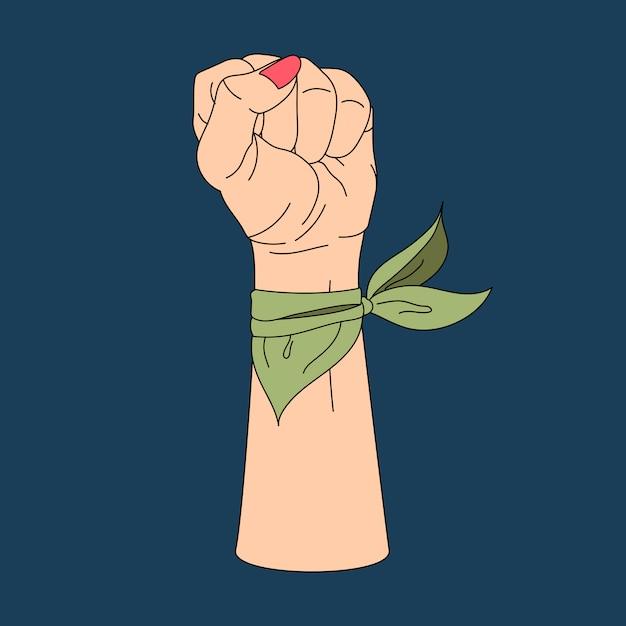 Femme puissance fist et vecteur de protestation Vecteur gratuit