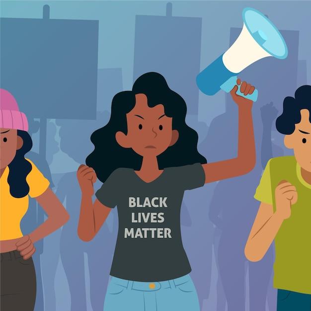 Une Femme Qui Proteste Dans Une Vie Noire Compte Vecteur Premium