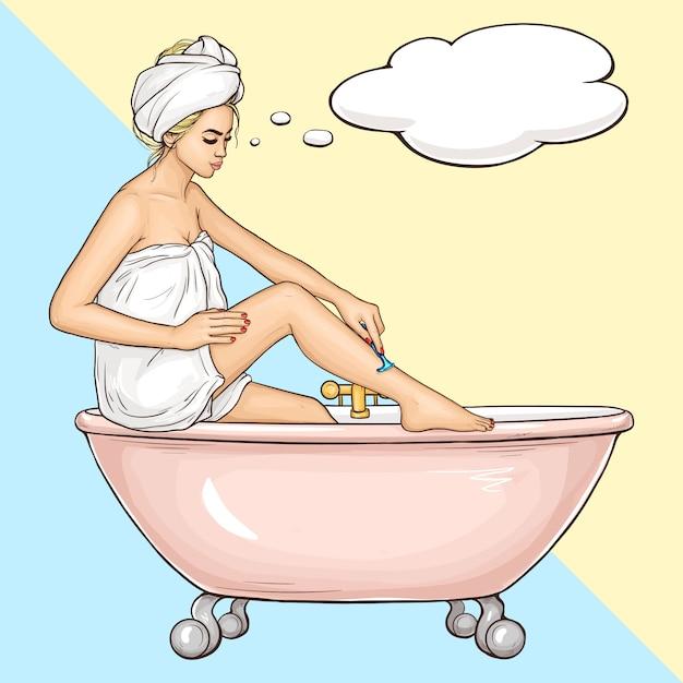 Femme rasant les jambes avec le vecteur de dessin animé de rasoir Vecteur gratuit