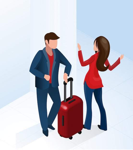 Femme réceptionniste bienvenue touristique avec valise Vecteur Premium