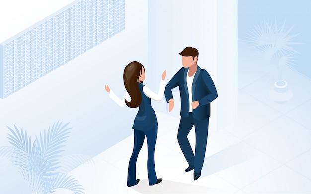 Femme réceptionniste manager aide man tourist Vecteur Premium