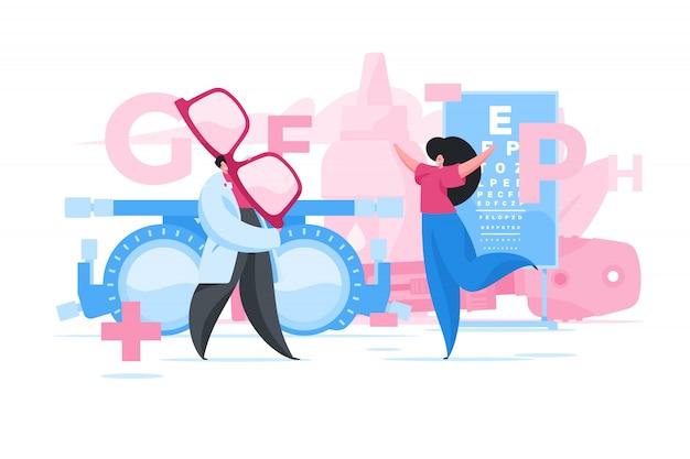 Femme Recevant De Nouveaux Verres De L'ophtalmologiste. Illustration Vecteur Premium