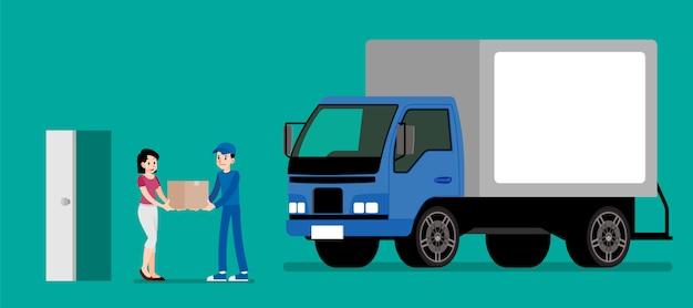 La femme reçoit un produit du service de livraison. Vecteur Premium