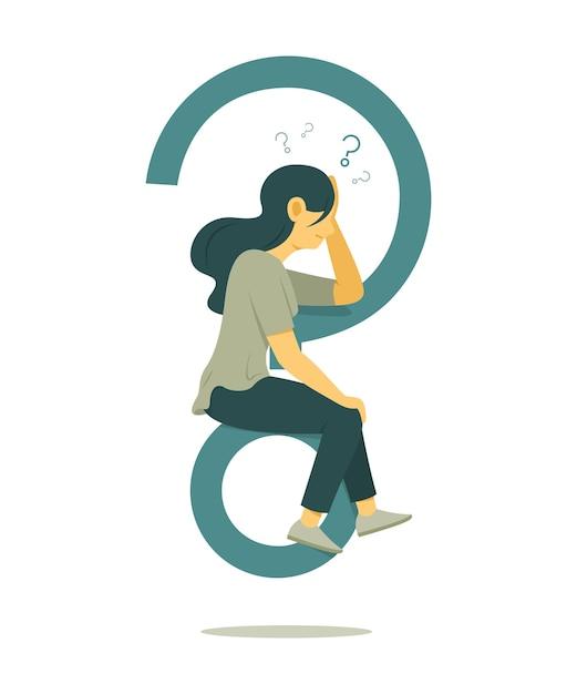 La Femme Réfléchit à La Question Et Est Assise Sur Un Grand Symbole De Point D'interrogation. Vecteur Premium