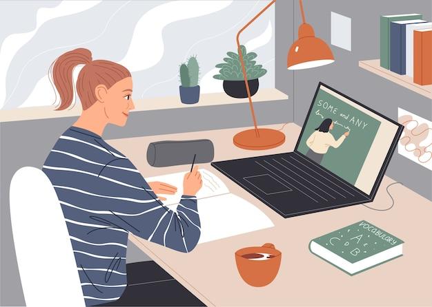 Femme Regardant Une Conférence Vidéo Sur écran D'ordinateur Portable. Vecteur Premium