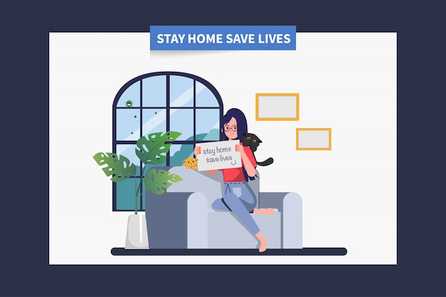 Femme Restez à La Maison, évitez De Propager Le Coronavirus Pendant Covid-19. Restez à La Maison Pour Sauver Des Vies. Vecteur Premium