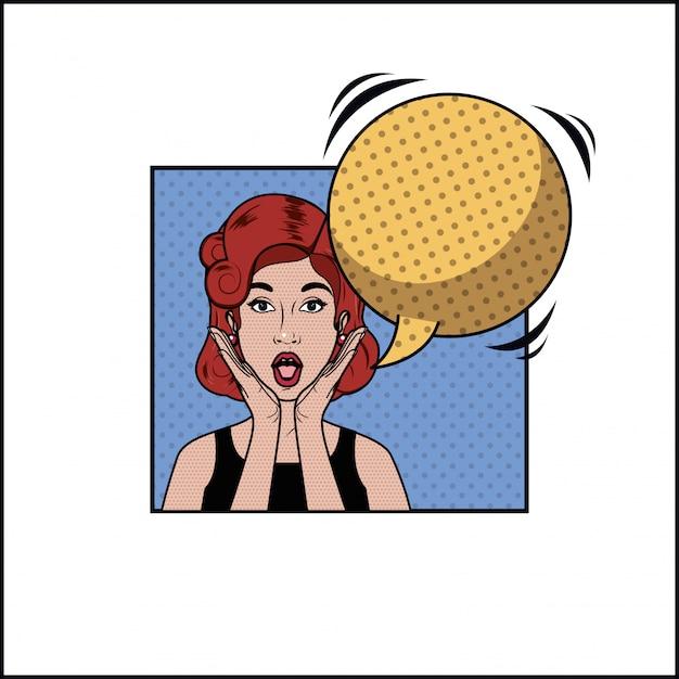 Femme rousse avec style pop art bulle Vecteur Premium