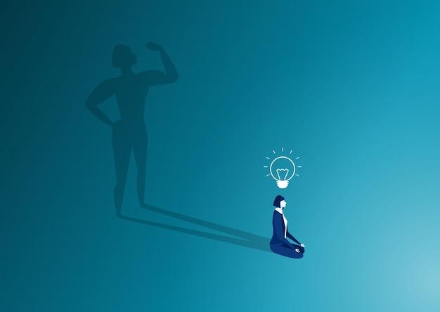 Femme s'asseoir dans la posture de méditation et forte ombre du corps de la femme. concept de détente après le travail. batterie à haut niveau d'énergie Vecteur Premium