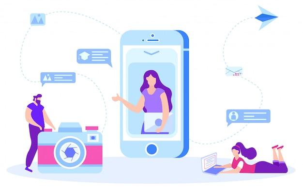 Femme s'entraîne en ligne à retoucher des images. Vecteur Premium