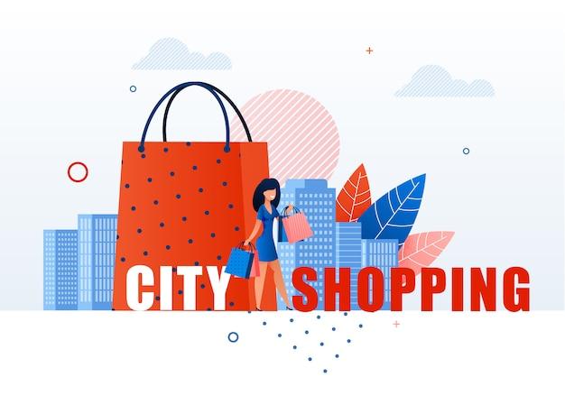 Femme avec des sacs à provisions sur le paysage urbain. Vecteur Premium