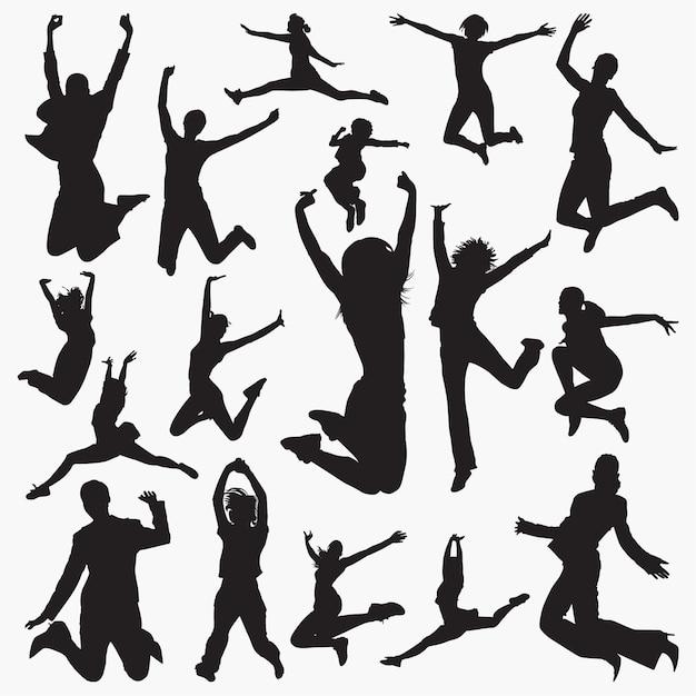 Femme sautant des silhouettes Vecteur Premium