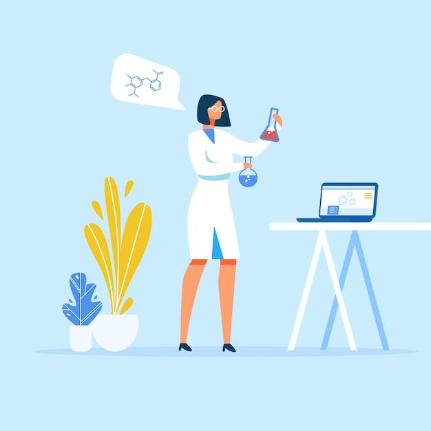 Femme scientifique préparant des médicaments en laboratoire Vecteur Premium