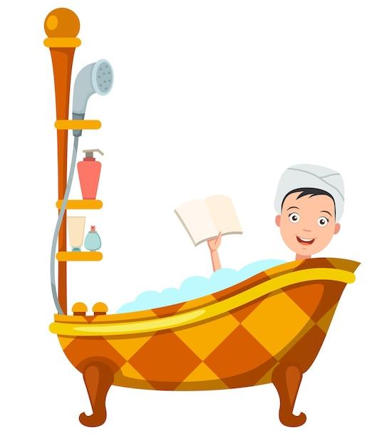 Femme Se Baignant Dans La Baignoire. Illustration Vecteur Premium
