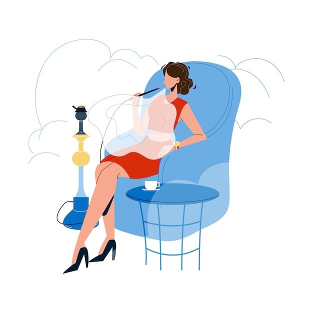 Femme Se Détendre Et Fumer Au Narguilé Cafe Vecteur Premium