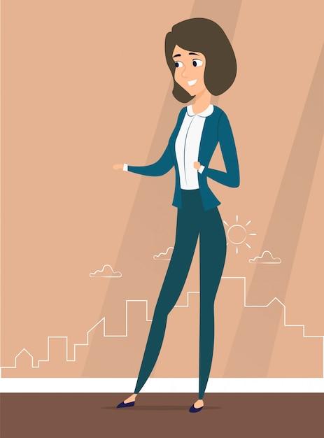 Une femme se dresse contre la silhouette de la ville Vecteur Premium