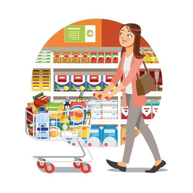 Femme shopping dans l'épicerie cartoon vector icon Vecteur Premium