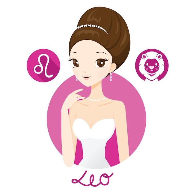 Femme Avec Signe Du Zodiaque Leo Vecteur Premium