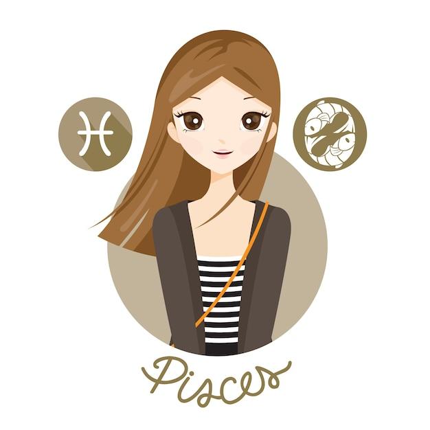 Femme Avec Signe Du Zodiaque Poissons Vecteur Premium