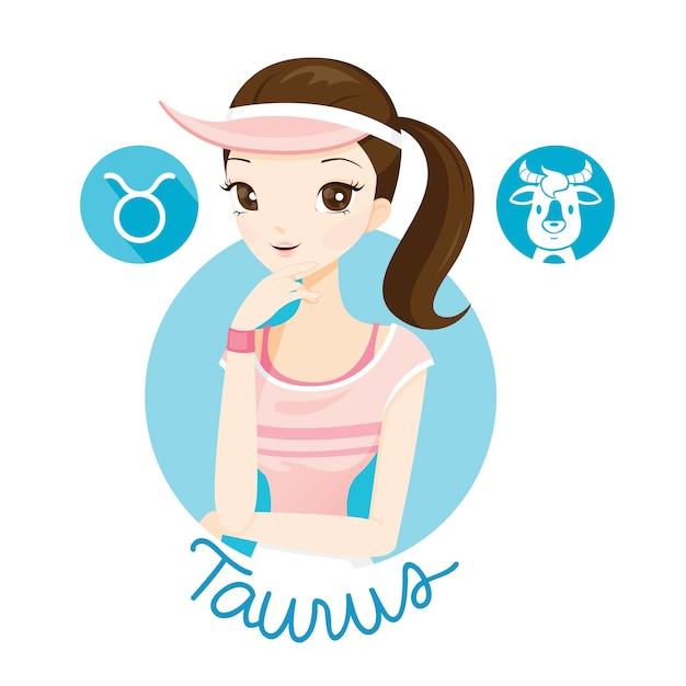 Femme Avec Signe Du Zodiaque Taureau Vecteur Premium