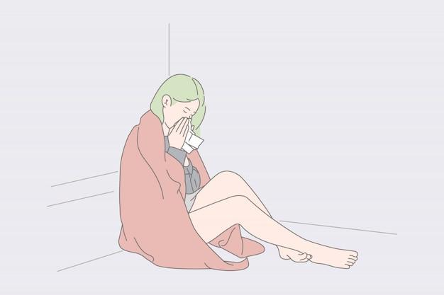 Femme Solitaire Assise Et Pleurant Sur Le Sol. Vecteur Premium