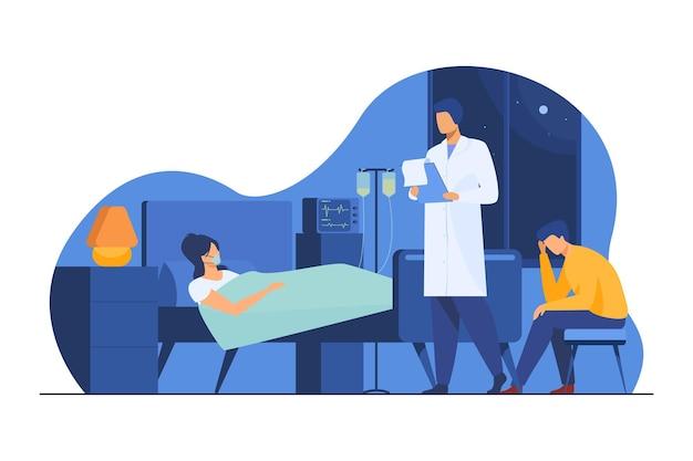 Femme Souffrant D'une Maladie Grave. Patient Sur Le Maintien De La Vie, Médecin, Illustration Plat De L'hôpital Vecteur gratuit