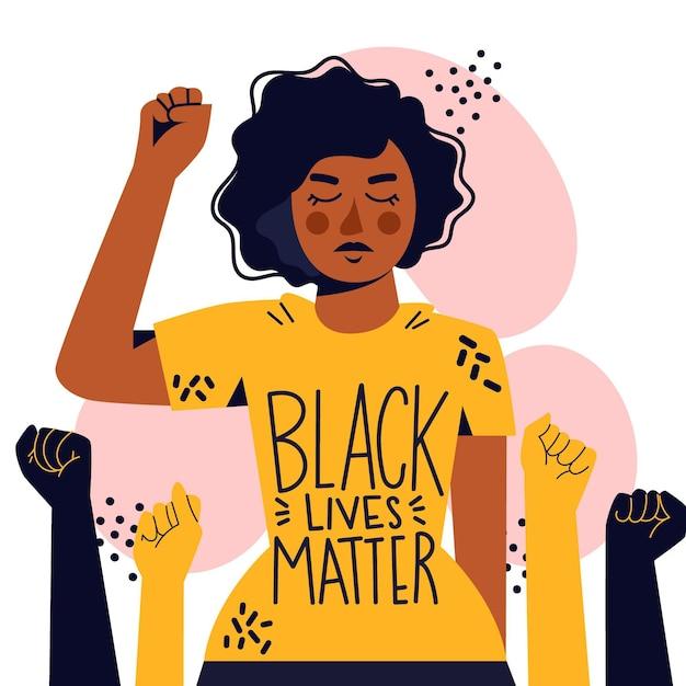Femme Soutenant Le Mouvement De La Vie Noire Compte Vecteur gratuit