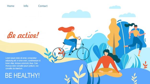 Femme sport entraînement en plein air soyez actif en bonne santé Vecteur Premium